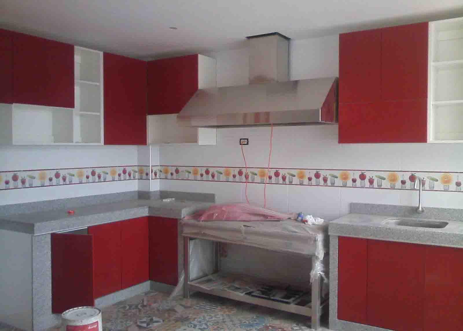 Cocina en melamine color rojo servicios generales for Muebles de cocina colgantes